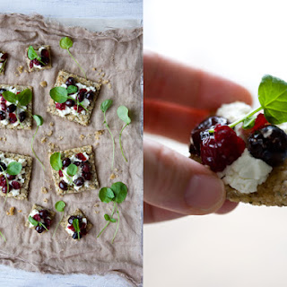 Goat Cheese, Olive, and Cranberry Tartines.