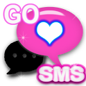 GO SMS THEME PINK NEON HEART 2 icon