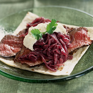 Rib-Eye Tacos with Onion Jam and Horseradish Crème Fraîche