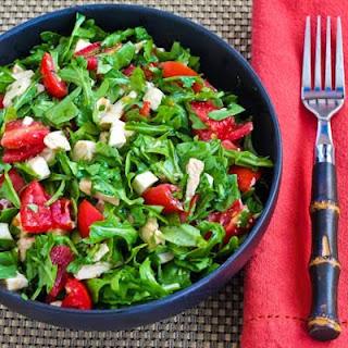 Baby Arugula Chopped Salad with Chicken, Fresh Mozzarella, and Tomatoes.
