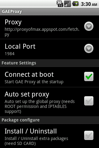 GAE Proxy - screenshot