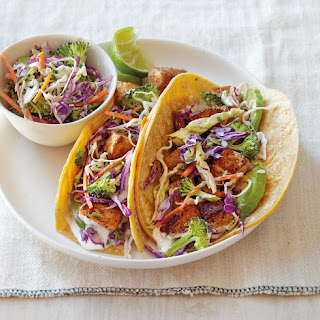 Fish Tacos with Broccoli Slaw and Lime Cream Sauce.