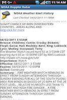 Screenshot of NOAA Radar and Alerts