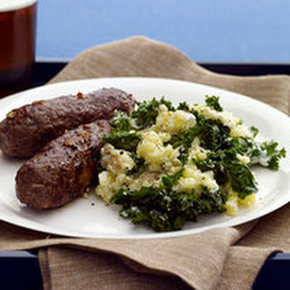 Paprika Sausages with Kale Mashed Potatoes.