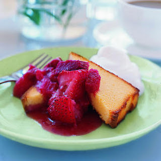 Rhubarb Conserve and Pound Cake with Whipped Cream