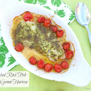 Baked Rock Fish with Green Harissa.