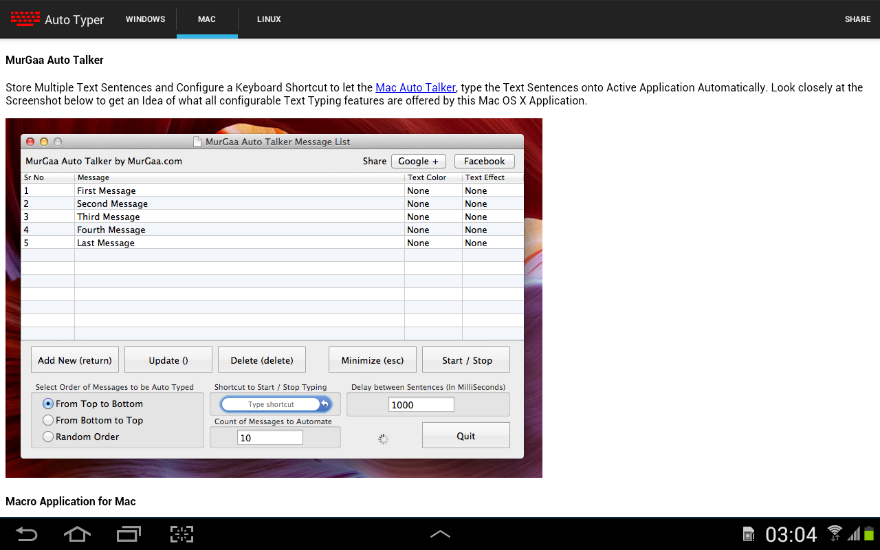 Auto typer for android