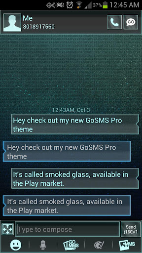 Smoked Glass GO SMS Pro Theme