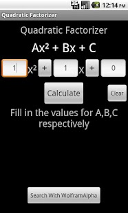 Quadratic Equation Factorizer - screenshot thumbnail