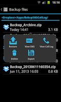 Screenshot of SMS & Call Log Backup