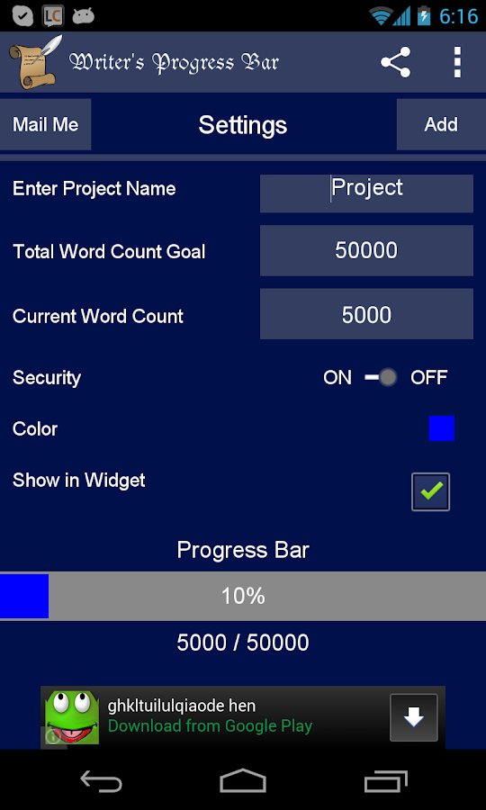 Writer's Progress Bar Bronze- screenshot