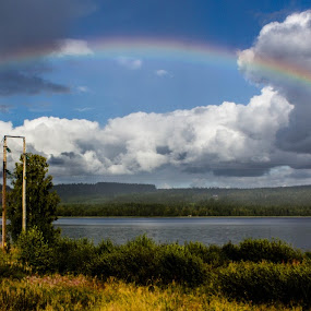 Under the Rainbow by Erika Lorde - Landscapes Weather ( clouds, nature, colors, fall, luck, gold, rainbow, rain )