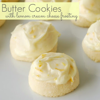 Butter Cookies with Lemon Cream Cheese Frosting.