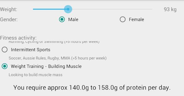 Protein calculator screenshot