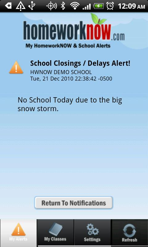 My HomeworkNOW & School Alerts - screenshot