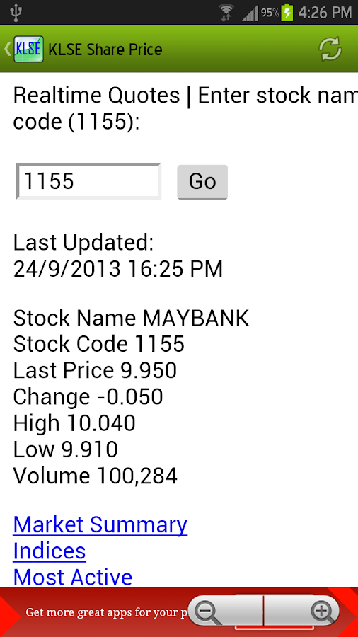 KLSE Share Price - screenshot