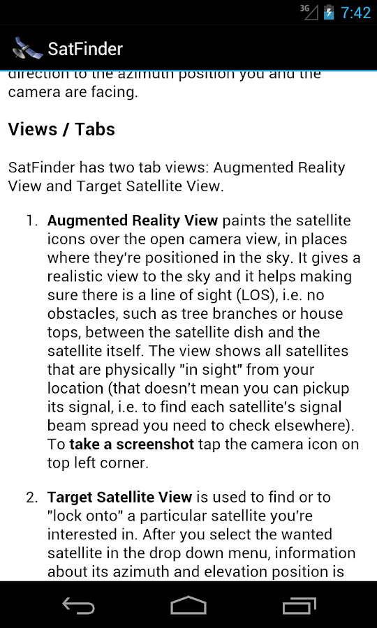 SatFinder - Find TV Satellites - screenshot