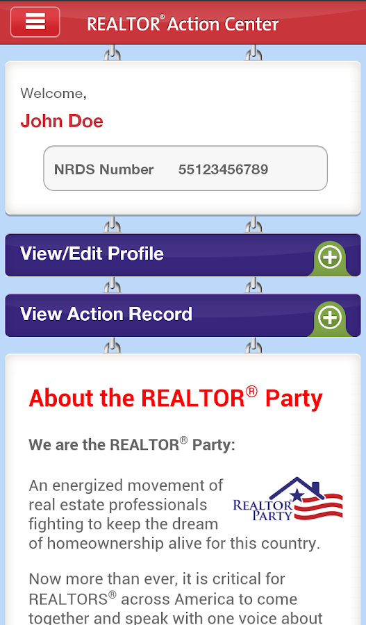 NAR Action Center- screenshot