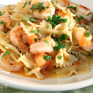 Shrimp and Zucchini with Bowties in Light Tomato Sauce.