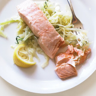 Poached Salmon with Sauteed Cabbage