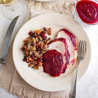 Cranberry Glazed Turkey Breast with Wild Rice Pilaf