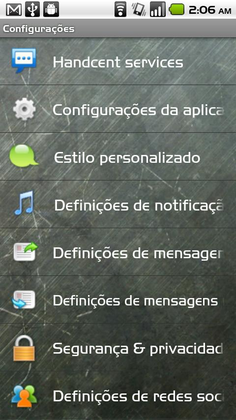 Handcent SMS Portuguese Langua- screenshot