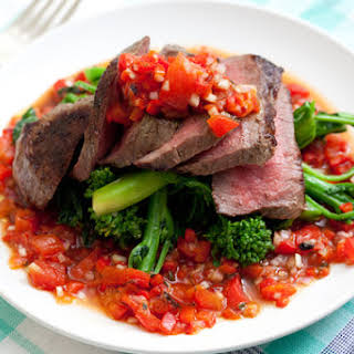 Steak with Salsa Rossa & Broccoli Rabe.