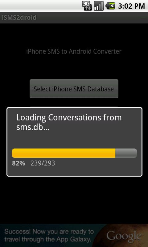 iSMS2droid (iPhone SMS Import) - screenshot
