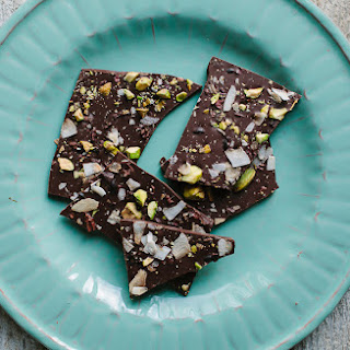 Coconut, Pistachio, and Cacao Chocolate Bark.