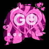 GO SMS Pink Theme Heart Zebra
