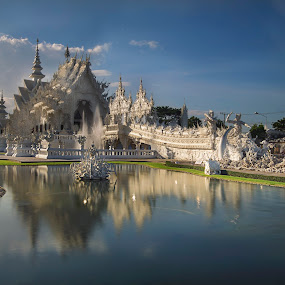 white temple by Sherry Zhao - Landscapes Travel ( temple, clouds, water reflection, blue sky, river )