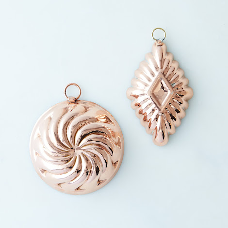 Vintage Copper Diamond and Swirl Chocolate Moulds, Late 19th Century