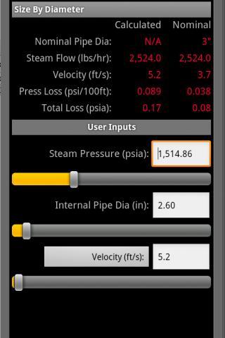 HVAC Pipe Sizer - Steam- screenshot