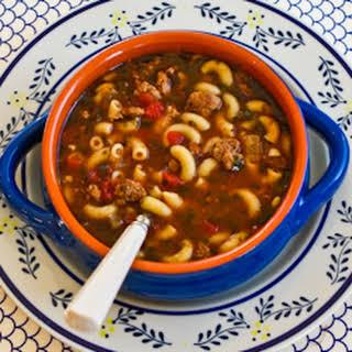Italian Sausage, Tomato, and Macaroni Soup with Basil.