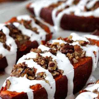 Twice Baked Sweet Potatoes with Bacon Pecan Streusel and Marshmallow Drizzle