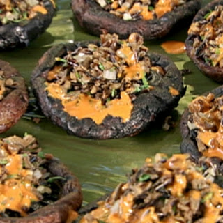 Grilled Portobellos Filled with Wild Rice-Almond Pilaf and Piquillo Pepper Vinaigrette