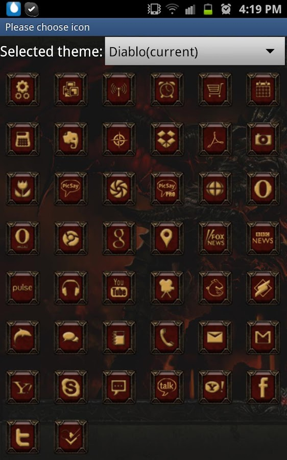 Diablo Dungeon GoLauncherTheme - screenshot