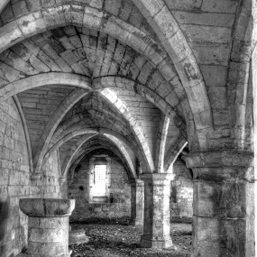 Ruins of St Leonard's Hospital by Michael McMurray - Black & White Buildings & Architecture ( masonry, uk, architecture, vault, stonework, england, column, st leonard's, vaulted ceiling, undercroft, york, ruins, medieval, hospital )