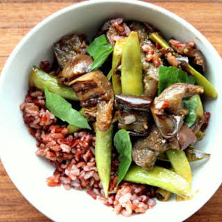 Make-Ahead Sweet and Sour Stir-Fried Eggplant with Snap Peas and Basil.