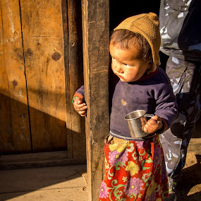 tea time by Veronika Kovacova - Babies & Children Child Portraits ( skirt, cup, girl, children, hat, kid, nepal,  )