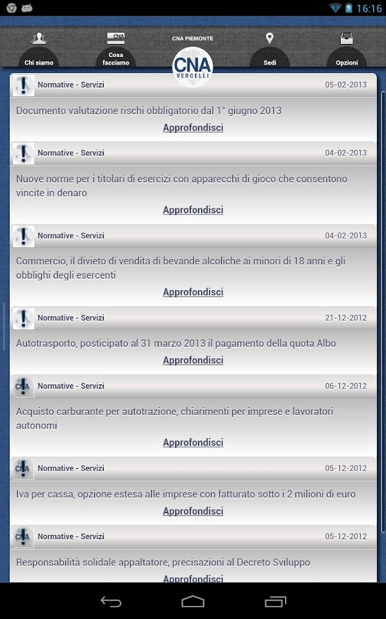 CNA Vercelli - screenshot