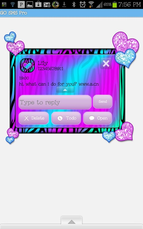 GO SMS THEME|HeartsCandyZebra4 - screenshot