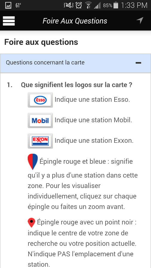 Esso Fuel Finder – Capture d'écran