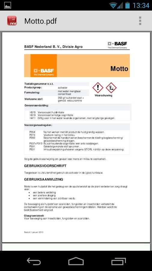 BASF producten - screenshot