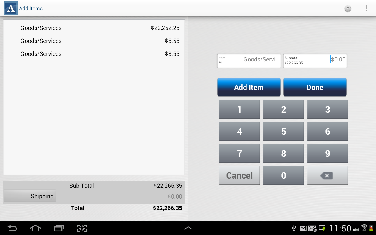 Authorize.Net Mobile POS - screenshot