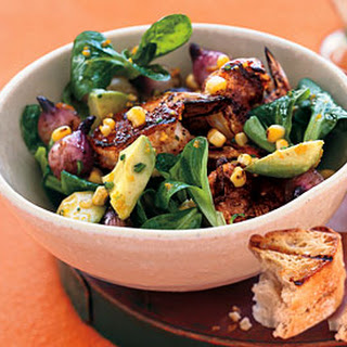 Grilled Shrimp Salad with Corn and Avocado.