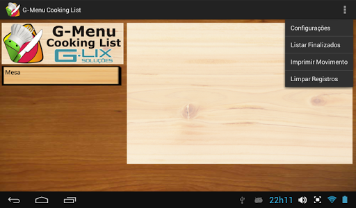 G-Menu Cooking List