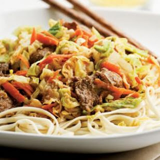 Beef & Cabbage Stir-Fry with Peanut Sauce.