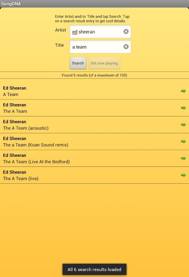 SongDNA - Detailed song information about any song- screenshot