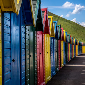 Primary  Colours - Whitby, UK by Donna Brittain - Buildings & Architecture Other Exteriors ( urban, rentals, yorkshire, lifestyle, whitby uk, beach huts, cityscape, beach, landscape, city,  )